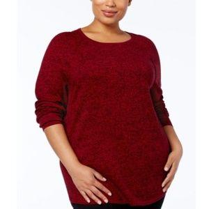 Karen Scott Macy's Plus Red Curved Hem Sweater 2X